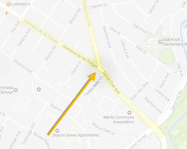 """""""Y"""" Intersection of Santa Cruz & Alameda"""